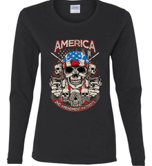 America. 2nd Amendment Patriots. Women's: Gildan Ladies Cotton Long Sleeve Shirt.