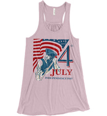 Patriot Flag. July 4th. Independence Day. Women's: Bella + Canvas Flowy Racerback Tank.