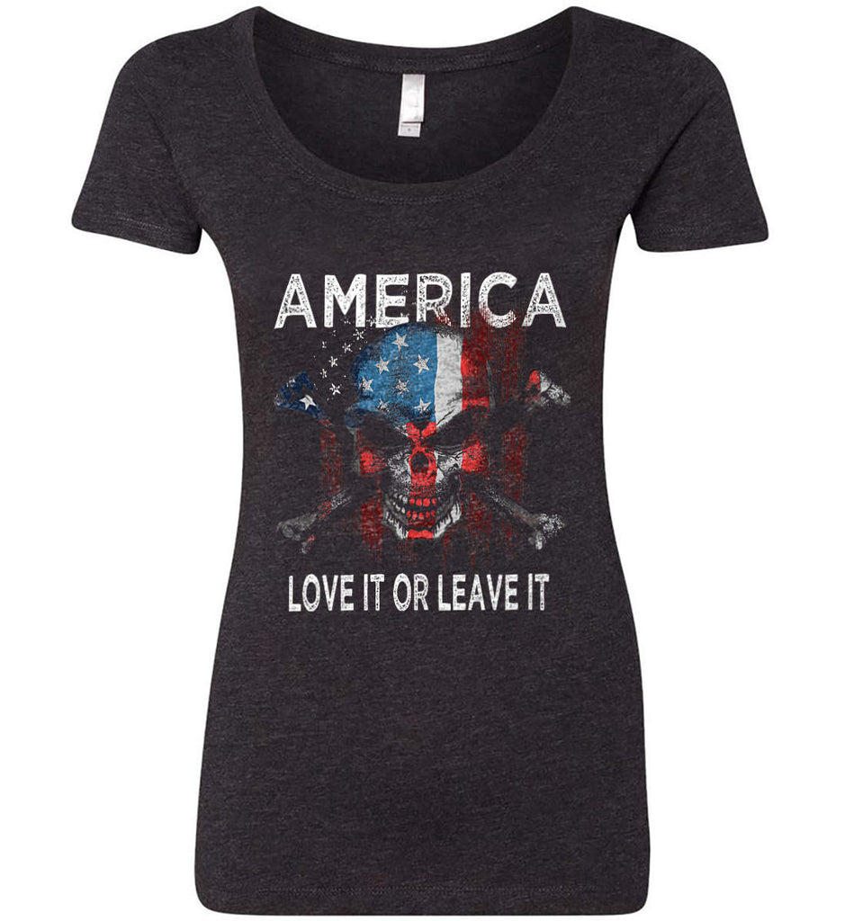 America. Love It or Leave It. Women's: Next Level Ladies' Triblend Scoop.-1