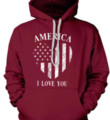 America I Love You White Print. Gildan Heavyweight Pullover Fleece Sweatshirt.