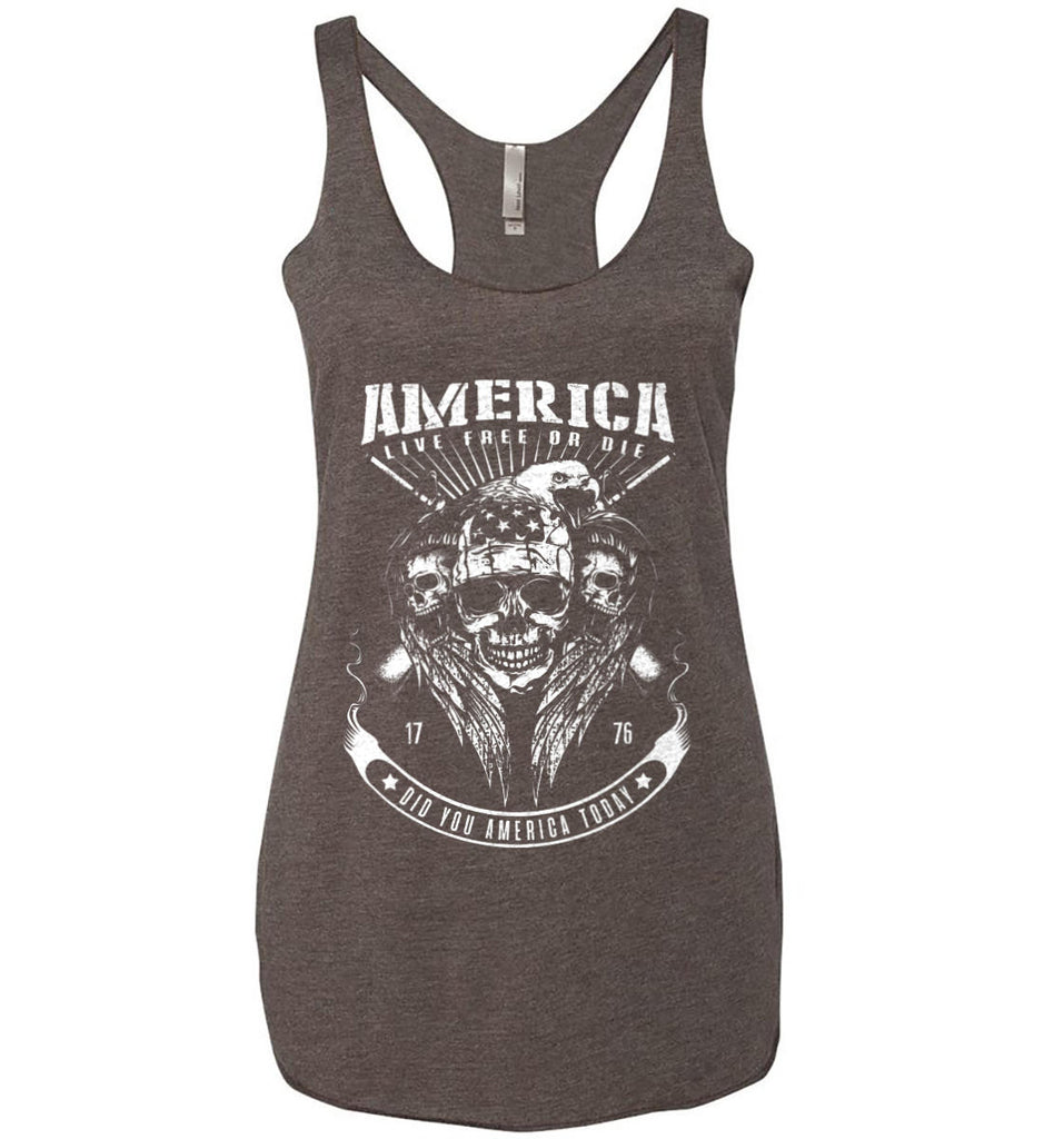 Did you America Today. 1776. Live Free or Die. Skull. White Print. Women's: Next Level Ladies Ideal Racerback Tank.-8