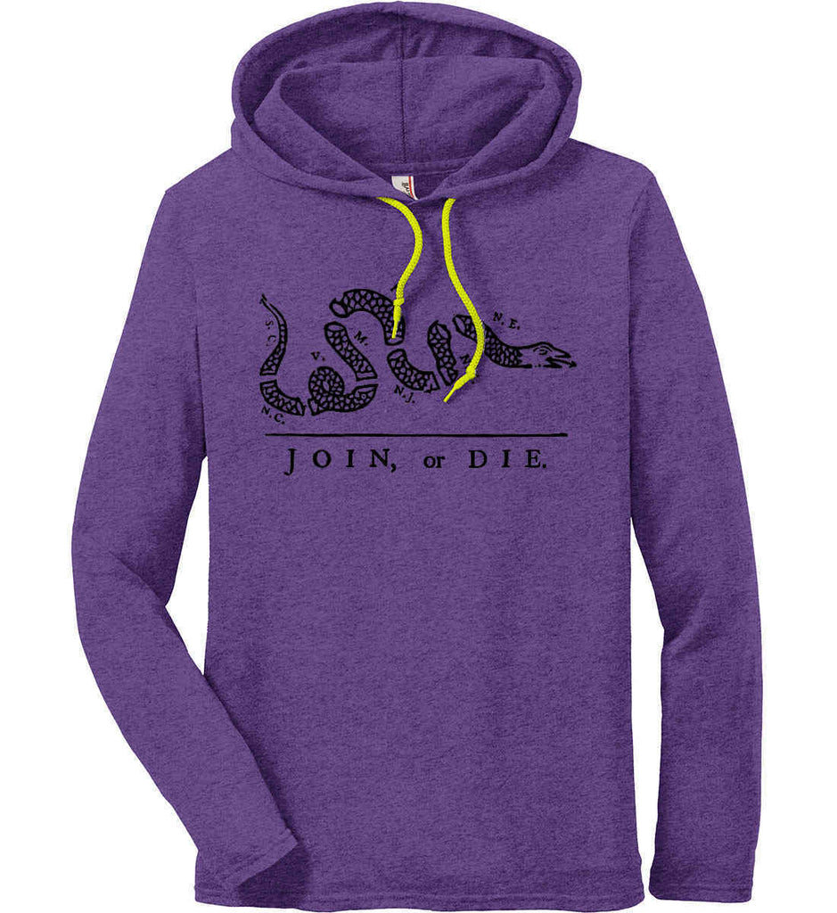 Join or Die. Black Print. Anvil Long Sleeve T-Shirt Hoodie.-5