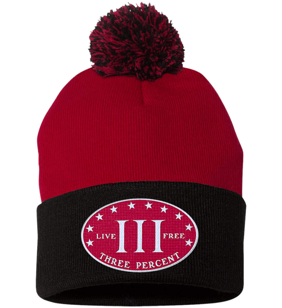 Three Percenter. Live Free. Hat. Sportsman Pom Pom Knit Cap. (Embroidered)-12