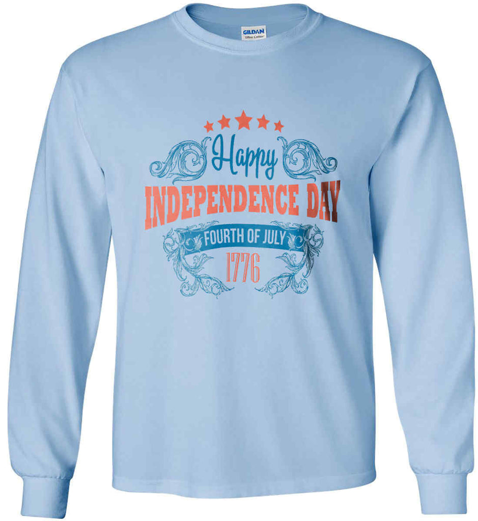 Happy Independence Day. Fourth of July. 1776. Gildan Ultra Cotton Long Sleeve Shirt.-5