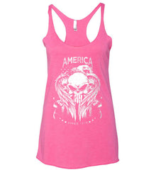 America. Punisher Skull and Bones. Since 1776. White Print. Women's: Next Level Ladies Ideal Racerback Tank.