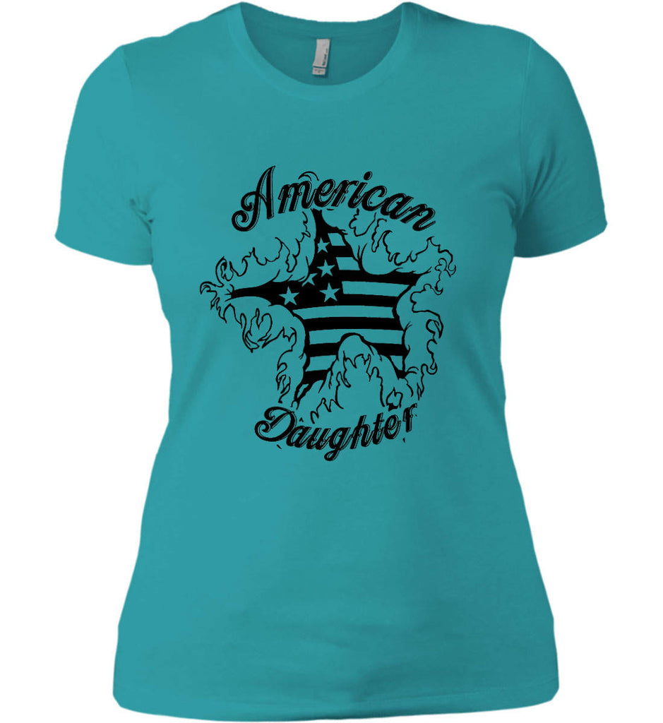 American Daughter. Women's Patriot Design. Women's: Next Level Ladies' Boyfriend (Girly) T-Shirt.-9