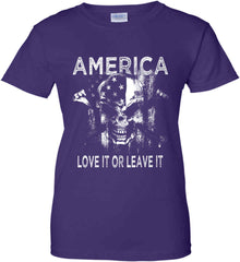 America. Love It or Leave It. White Print. Women's: Gildan Ladies' 100% Cotton T-Shirt.