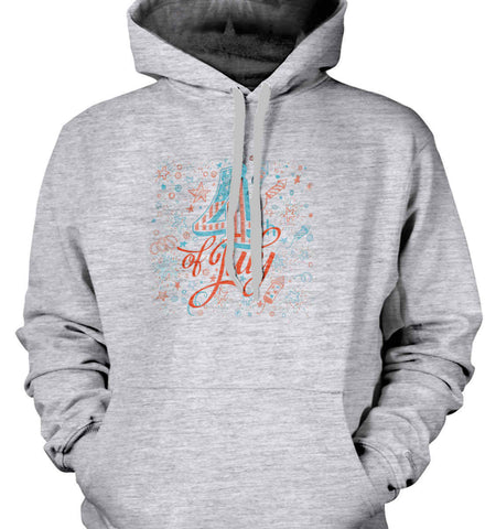 4th of July. Stars and Rockets. Gildan Heavyweight Pullover Fleece Sweatshirt.