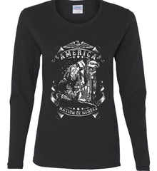 America A Nation of Heroes. Kneeling Soldier. White Print. Women's: Gildan Ladies Cotton Long Sleeve Shirt.