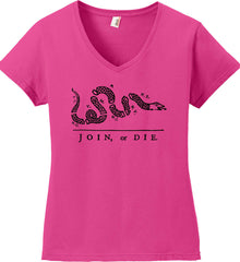 Join or Die. Black Print. Women's: Anvil Ladies' V-Neck T-Shirt.