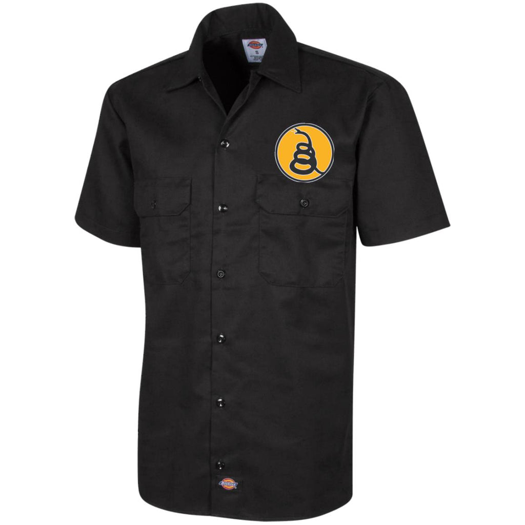 Don't Tread on Me Rattlesnake. Yellow/Black. Dickies Men's Short Sleeve Workshirt. (Embroidered)-2