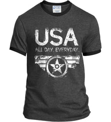 USA All Day Everyday. White Print. Port and Company Ringer Tee.