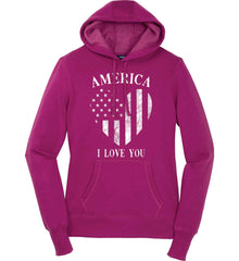 America I Love You White Print. Women's: Sport-Tek Ladies Pullover Hooded Sweatshirt.