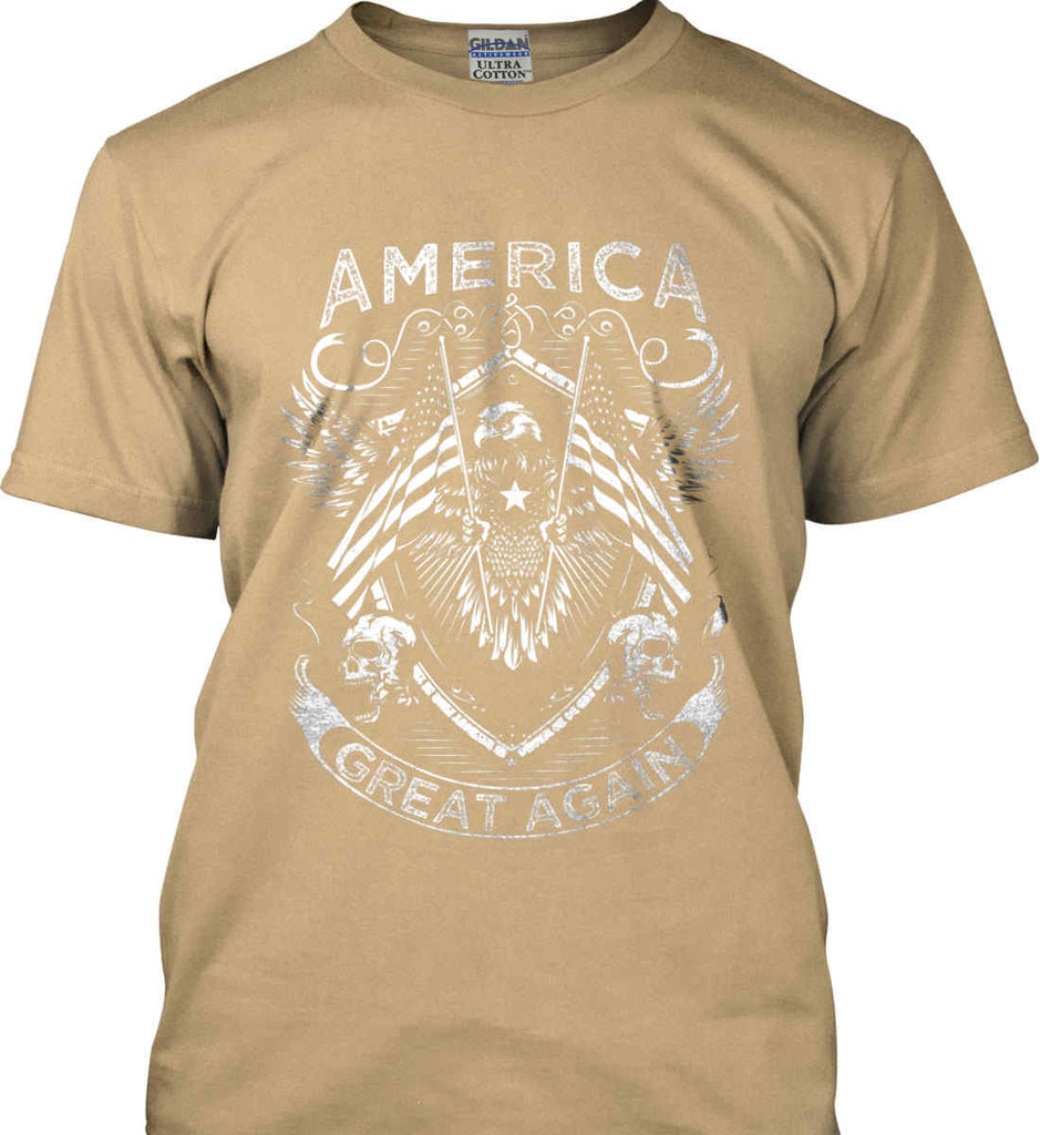 America. Great Again. White Print. Gildan Ultra Cotton T-Shirt.-11