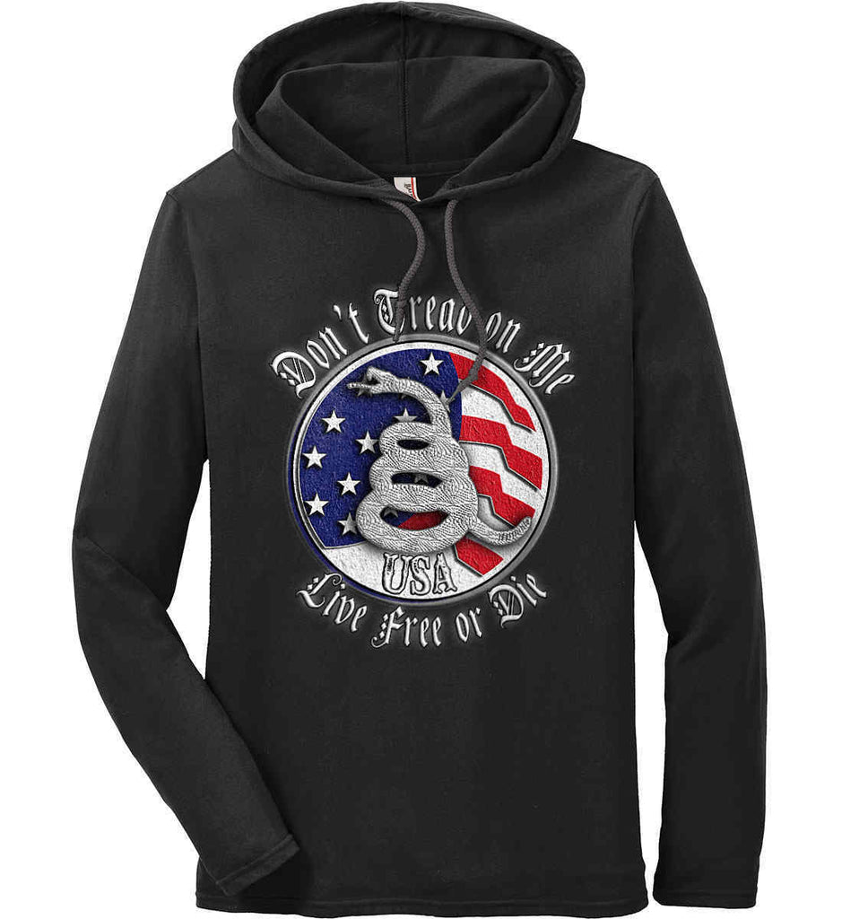 Don't Tread on Me: Red, White and Blue. Live Free or Die. Anvil Long Sleeve T-Shirt Hoodie.-1