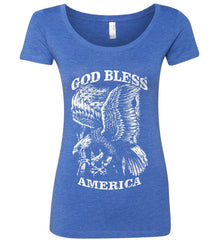 God Bless America. Eagle on Flag. White Print. Women's: Next Level Ladies' Triblend Scoop.