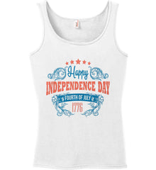 Happy Independence Day. Fourth of July. 1776. Women's: Anvil Ladies' 100% Ringspun Cotton Tank Top.