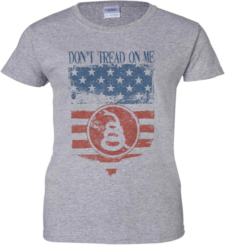 Don't Tread on Me. Rattlesnake. Faded Grunge Shield Women's: Gildan Ladies' 100% Cotton T-Shirt.-3