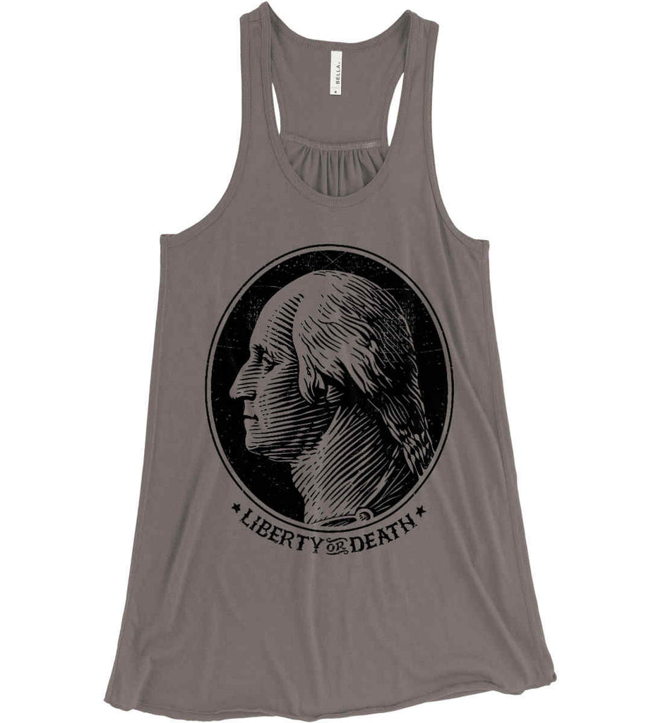 George Washington Liberty or Death. Black Print Women's: Bella + Canvas Flowy Racerback Tank.-7