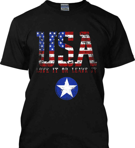 USA. Love It or Leave It. Freedom Hard. Gildan Ultra Cotton T-Shirt.