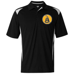 Don't Tread on Me Rattlesnake. Yellow/Black. Augusta Premier Sport Shirt. (Embroidered)