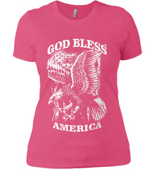 God Bless America. Eagle on Flag. White Print. Women's: Next Level Ladies' Boyfriend (Girly) T-Shirt.