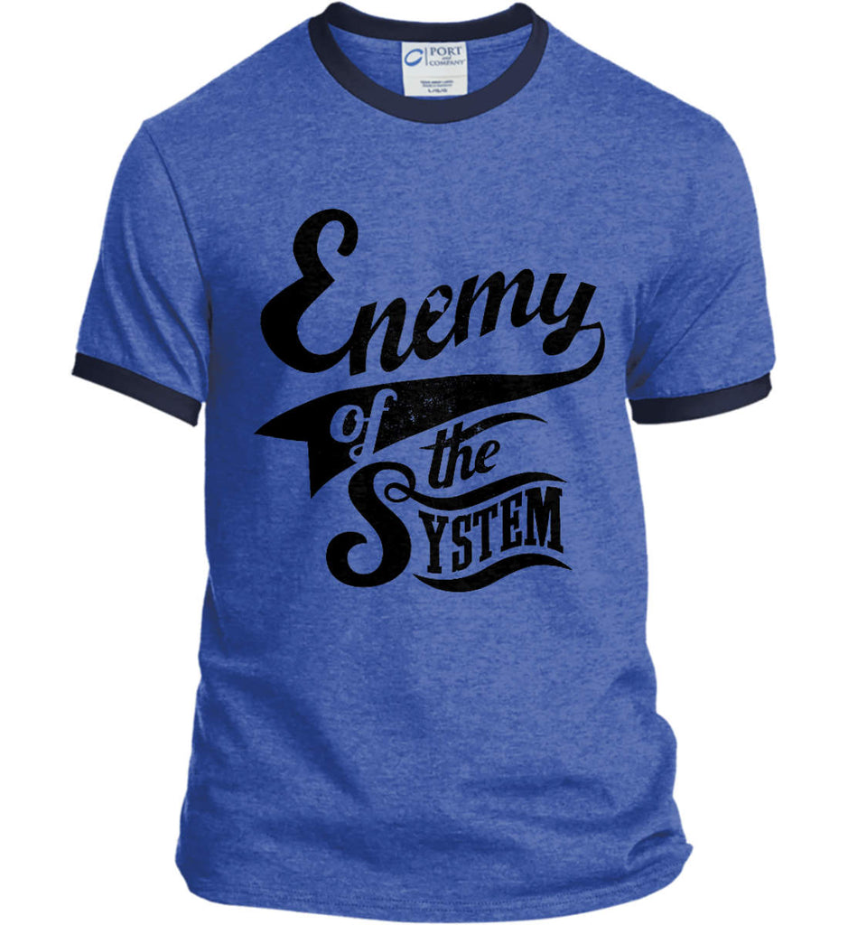Enemy of The System. Port and Company Ringer Tee.-7
