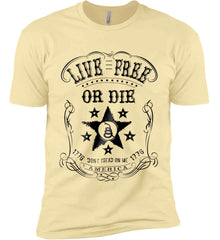 Live Free or Die. Don't Tread on Me. 1776. Black Print. Next Level Premium Short Sleeve T-Shirt.