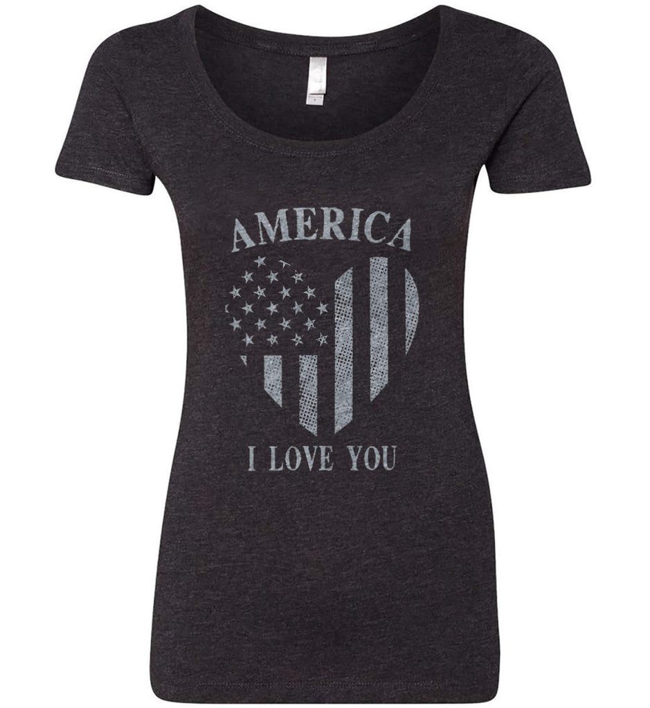 America I Love You Women's: Next Level Ladies' Triblend Scoop.-2