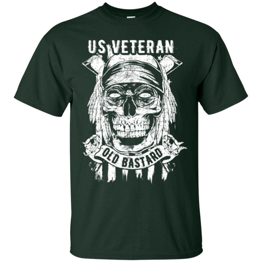 US Veteran. Skull on Flag. White Print. Gildan Ultra Cotton T-Shirt.-9