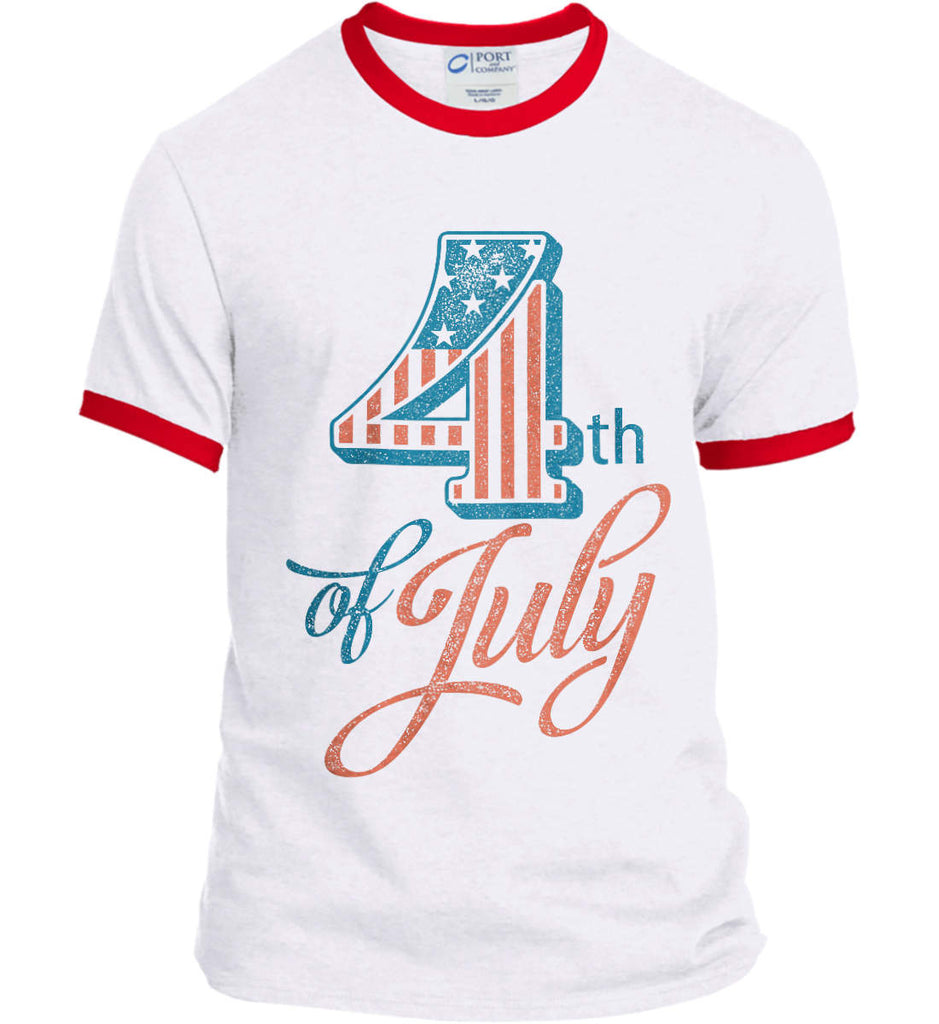 4th of July. Faded Grunge. Port and Company Ringer Tee.-3