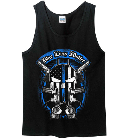 Blue Lives Matter. Flag Punisher Skull. Gildan 100% Cotton Tank Top.