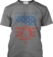 Don't Tread on Me. Rattlesnake. Faded Grunge Shield Port & Co. Made in the USA T-Shirt.