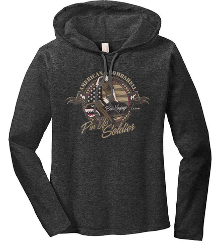 American Bombshell. Women's: Anvil Ladies' Long Sleeve T-Shirt Hoodie.