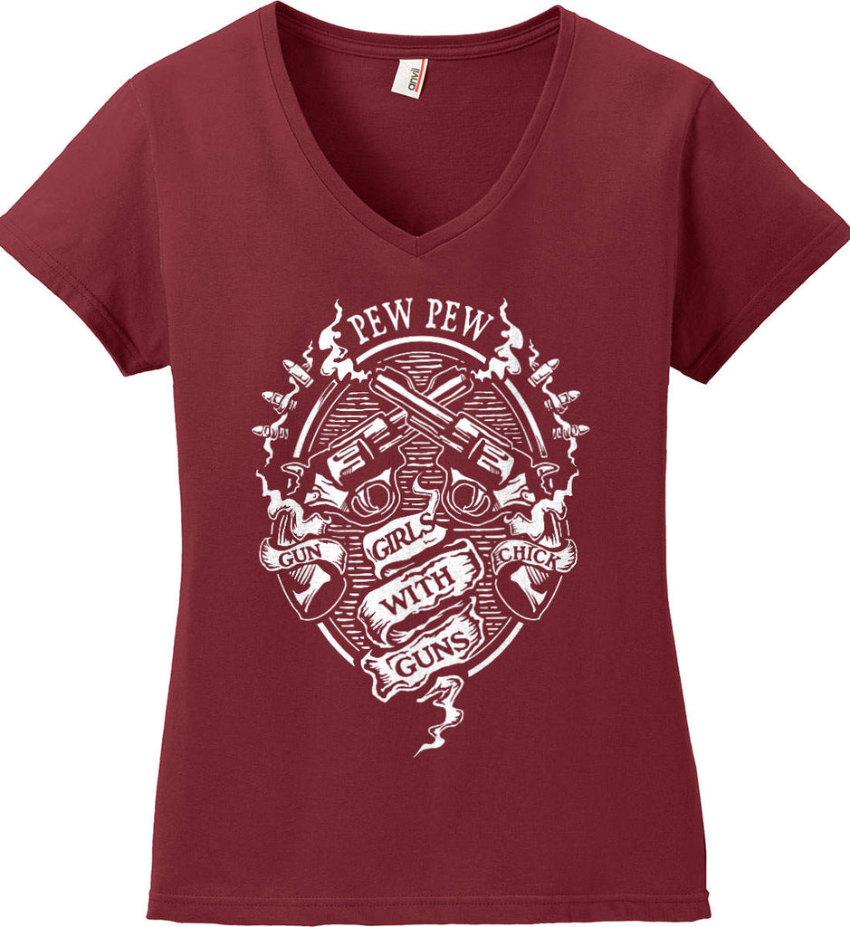 Pew Pew. Girls with Guns. Gun Chick. Women's: Anvil Ladies' V-Neck T-Shirt.-4