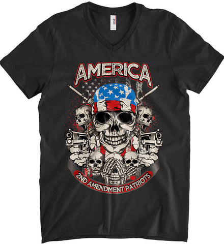 America. 2nd Amendment Patriots. Anvil Men's Printed V-Neck T-Shirt.