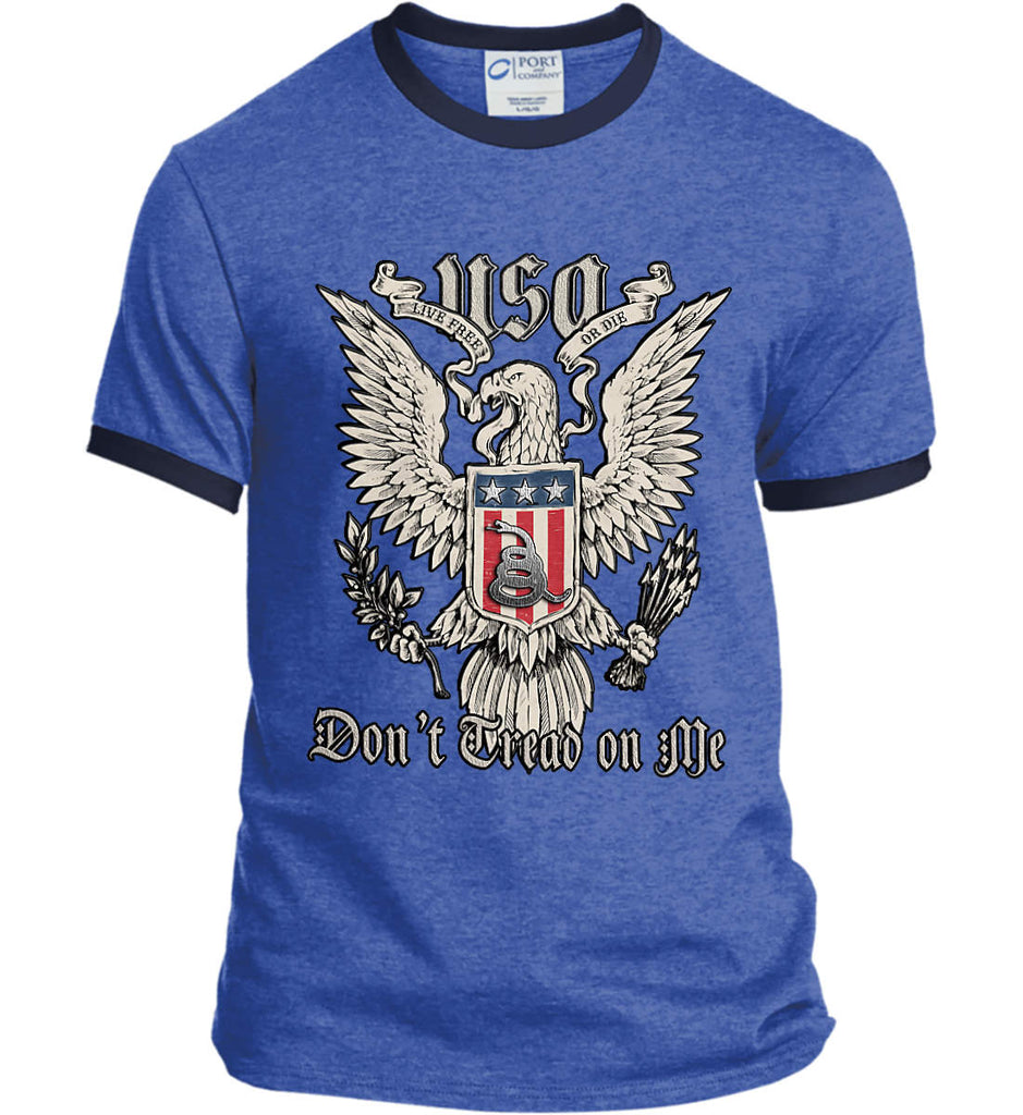 Don't Tread on Me. Eagle with Shield and Rattlesnake. Port and Company Ringer Tee.-7