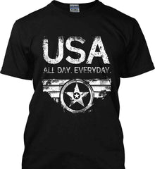 USA All Day Everyday. White Print. Gildan Ultra Cotton T-Shirt.
