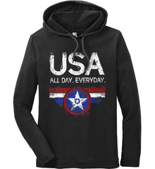 USA All Day Everyday. Anvil Long Sleeve T-Shirt Hoodie.