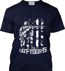 Got Your Six. Soldier Flag. White Print. Port & Co. Made in the USA T-Shirt.