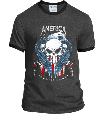 America. Punisher Skull and Bones. Since 1776. Port and Company Ringer Tee.