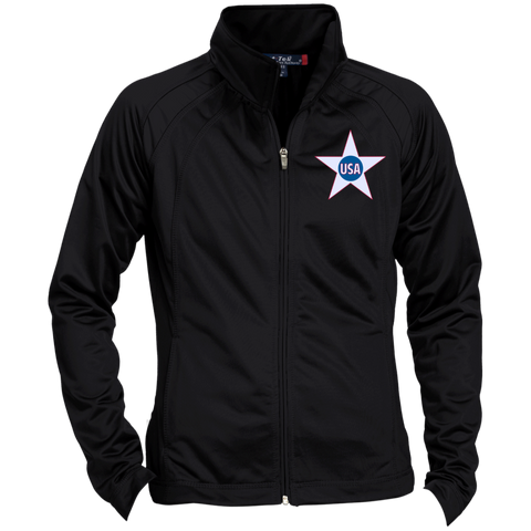USA. Inside Star. Red, White and Blue. Women's: Sport-Tek Ladies' Raglan Sleeve Warmup Jacket. (Embroidered)