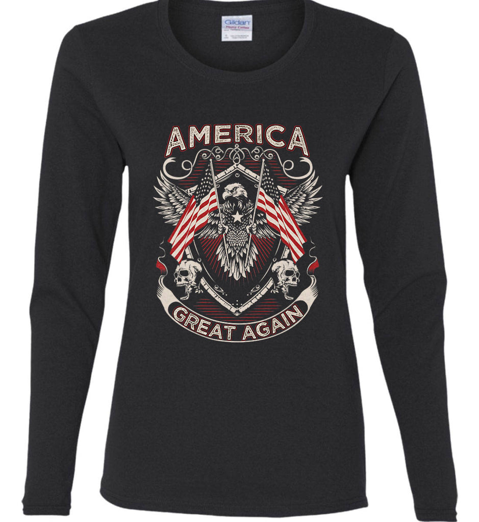 America. Great Again. Women's: Gildan Ladies Cotton Long Sleeve Shirt.-1
