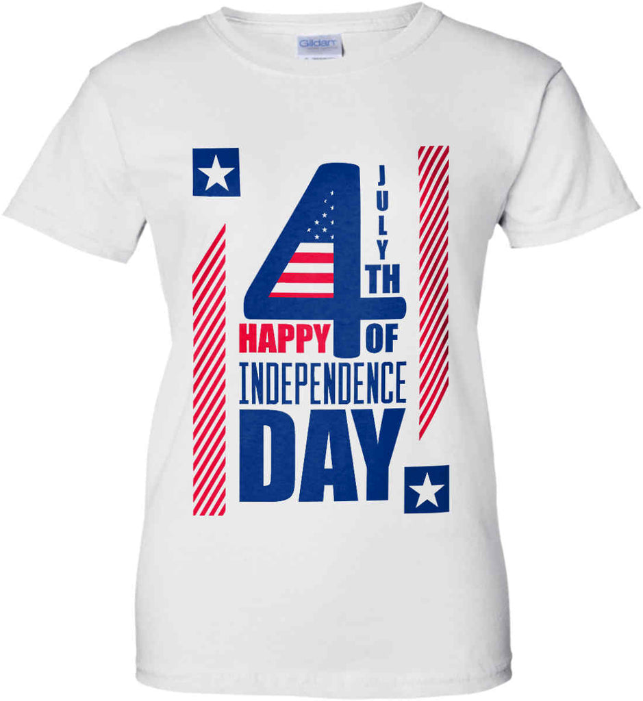 4th of July with Stars and Stripes. Women's: Gildan Ladies' 100% Cotton T-Shirt.-2