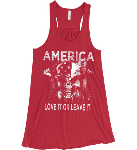 America. Love It or Leave It. White Print. Women's: Bella + Canvas Flowy Racerback Tank.