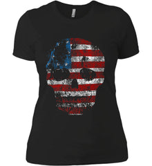 American Skull. Red, White and Blue. Women's: Next Level Ladies' Boyfriend (Girly) T-Shirt.