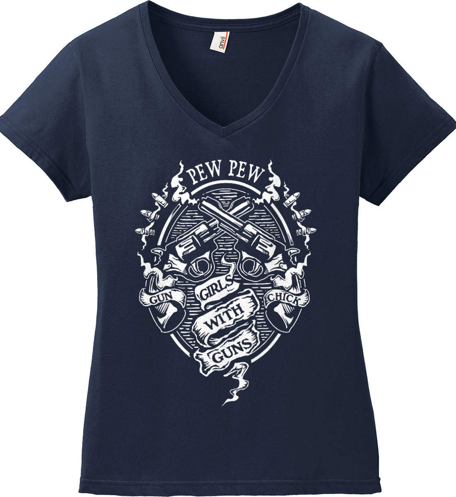 Pew Pew. Girls with Guns. Gun Chick. Women's: Anvil Ladies' V-Neck T-Shirt.-5
