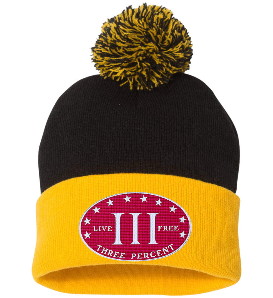 Three Percenter. Live Free. Hat. Sportsman Pom Pom Knit Cap. (Embroidered)-2
