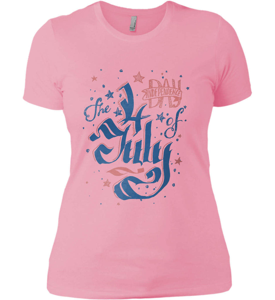 The 4th of July. Ribbon Script. Women's: Next Level Ladies' Boyfriend (Girly) T-Shirt.-4