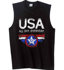 USA All Day Everyday. Gildan Men's Ultra Cotton Sleeveless T-Shirt.